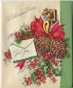 Vintage Christmas Pine Cones Red Holly Door Knocker Embossed Litho Greeting Card
