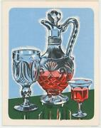 Vintage Paper Art Card Print Of Cut Pressed Glass Ware Wine Decanter Cup Goblet