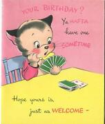 Vintage Cat Playing Game Cards Canasta Card Deck Number 4 Greeting Bday Art Card
