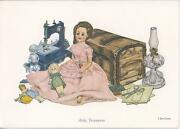 Vintage Dolls Paper Doll Hope Chest Sewing Machine Don Ensor Note Card Art Print