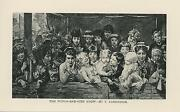 Antique Victorian Child Woman Baby Girl Doll Punch And Judy Show Miniature Print