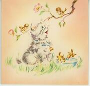 Vintage White Gray Brown Tabby Cat Kitten Baby Chick Birds Lithograph Card Print