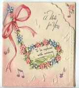 Vintage Music Note Of Flowers Currency Money Gift Small Embossed Art Card Print
