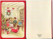 Vintage Christmas Tree Chldren Reading Library Cat Wreath Presents Greeting Card