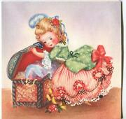 Vintage Gorgeous Victorian Girl Costume Hope Treasure Chest Pearls Card Print