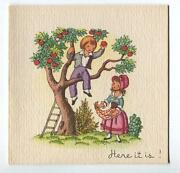 Vintage Victorian Child Autumn Apple Picking 1 Christmas Morning Tree Doll Card