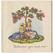 Vintage Victorian Girls Flowers Friends 1 Christmas Morning Tree Doll Card
