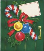 Vintage Christmas Candy Cane Ornaments Green Door Wreath Lithograph Card Print