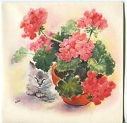 Vintage Red Pink Geranium Garden Flowers Potted Plant Cat Print 1 Cute Girl Card