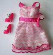 Barbie Fashionistas Wave 1 Girly Doll's Pink Tulle Dress And Dark Pink Heels Shoes