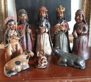 Vintage Clay Terracotta Large Statues Nativity El Nacimiento 14.5 Inch Full Set