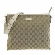 Gg Canvas Shoulder Bag Beige 388924 Previously Owned No.8566