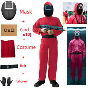 Squad Game Red Jumpsuit Cosplay Costume Halloween Party Round Six Mask Outfit Us