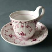High Handle Cup And Saucer Burgundy Royal Copenhagen Half Lace From Japan