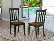 East West Furniture Antique Country Dining Chairs - Wooden Seat And Black Har...