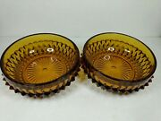 Set Of 2 Vintage Indiana Glass Amber Diamond Point 5andrdquo Bowls Serving Dishes