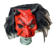 Vintage Nwt Devil Halloween Mask Scary Vinyl Trick Or Treat Haunted Dress Up