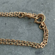 Antique 14k Gold Faceted Rectangular Cable Chain Link Watch Chain Necklace