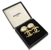 Swing Coco Mark Earrings 95p 4.3cm Vintage Gold With Box Auth Jp I18929