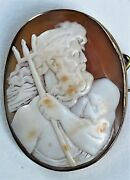 Rare Antique Victorian Neptune Poseidon God Carved Shell Cameo 9ct Gold Brooch