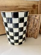 Mackenzie-childs Courlty Check Enamelware Waste Basket New Has Chips See Photos