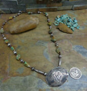 Wow Navajo Whirling Log Butterfly Concho Turquoise Sterling Bench Bead Necklace
