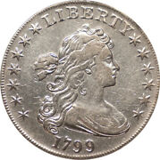 1799 Draped Bust 1 Silver Dollar Anacs Vf-30 Details - Great Portrait