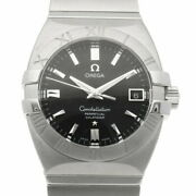 Omega Ss Wristwatch Constellation Double Eagle Silver Black Mens No.8725