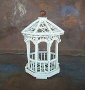 Miniature Wooden Octagon Gazebo Rustic Whimsical Handcrafted Fairy Garden