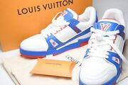 Pre-owned Authentic Louis Vuitton Men's Sneakers 8 White Blue Red Mixed Material