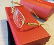 Vintage Gold Square Frame Glasses Panthere With Case And Dust Cloth