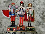 Bluetooth Royal Nutcracker Oversized Figurine With Color Lights Approx 24h 3pcs