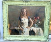 1960s Italian Impressionist Oil Painting On Panel Of Girl In Dress Signed Pina