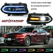 2x Led Projector Headlights Rgb Color Change Lamps Fit 2015-20 Dodge Charger New