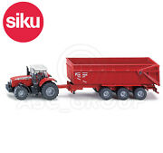 Siku No.1844 187 Scale Massey Ferguson Tractor With Trailer Dicast Model / Toy