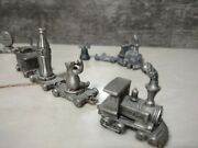 Set Of 8 Solid Miniature Pewter Train Budweiser Anheuser Bush Coca Cola Liberty