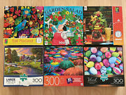 Lot Of 6 Jigsaw Puzzles 300 Large Piece Complete Buffalo Mb Ceoco