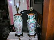 Sale Lovely Pair Of Large Vintage/antique Famille Rose Chinese Lamps 34 Tall
