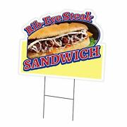 Rib-eye Steak Sandwich 24 X 36 Yard Sign And Stake   Advertise Your Business ...