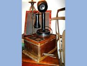 1908 Antique Candlestick Telephone W/wood Box Has Inside Contents,crank