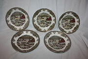 Lot Of 5 Johnson Brothers Friendly Village Red Ice House Ceramic Coffee Saucers