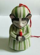 Kitty Cucumber Green Nightshirt And Hat Cat And Candle Bisque Porcelain Ornament
