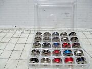 25 Singer Sewing Machine Class 66 Bobbins - Metal 4 Hole And Vintage Plastic Box