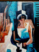 1950s French Abstract Oil Painting Of Lady On Canvas - Signed Lhote