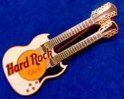 Chicago No Name Early White Twin Neck Gibson Sg Guitar 3lt Hard Rock Cafe Pin