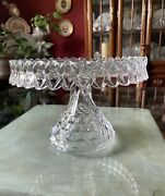 Vintage Fostoria Glass 10andrdquo Round Pedestal Cake Stand Plate With Rum Well