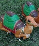 Vintage Christmas Nativity Camel Plastic Lighted Blow Mold - 28 Long 2