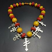 Federico Jimenez Sterling Silver Yellow Red Necklace Dragonfly Double Bar Cross