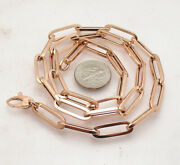 6mm Fashion Elongated Paperclip Chain Necklace Real 14k Rose Gold 14 Thru 46