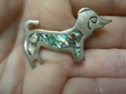 Vintage Dachshund Sterling Silver And Abalone Lapel Pin Excellent Vintage